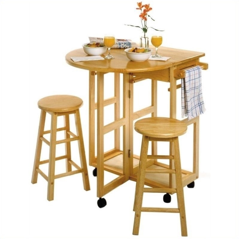 Mobile Breakfast Bartable Set With 2 Stools In Natural Black Patio Within Cora 7 Piece Dining Sets (Image 19 of 25)