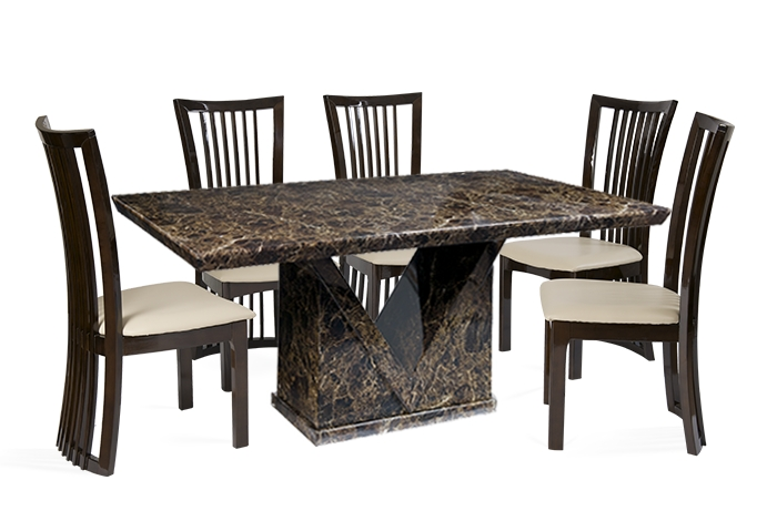 Mocha 160Cm Marble Effect Dining Table With 4 Reni Chairs | Thomas In Marble Dining Chairs (View 2 of 25)