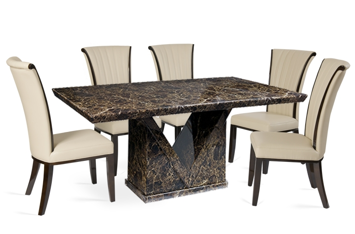 Mocha 160Cm Marble Effect Dining Table With Alpine Leather Chairs With Regard To Dining Tables With 6 Chairs (View 8 of 25)