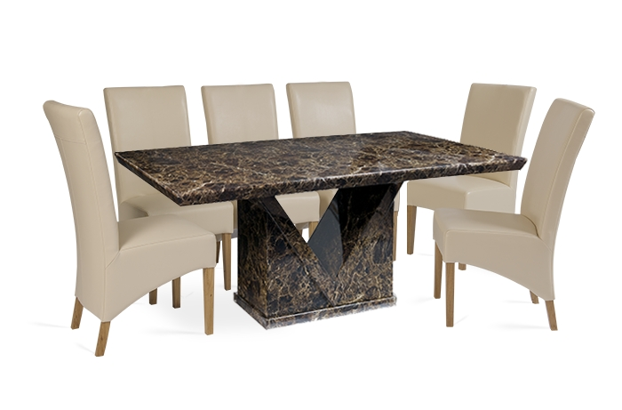 Mocha 180Cm Marble Effect Dining Table With 6 Cannes Cream Chairs Inside Marble Effect Dining Tables And Chairs (Image 19 of 25)