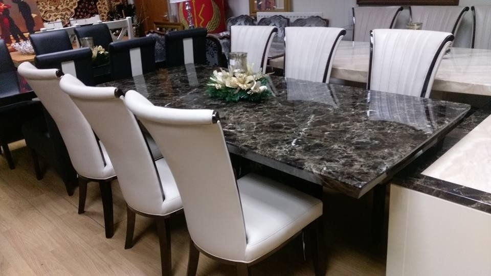 Mocha 220Cm Marble Dining Table And 6 Apine Cream Leather And Gloss In Marble Effect Dining Tables And Chairs (Image 20 of 25)