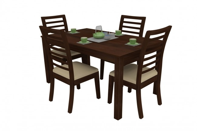Modena Walnut Dining Table Set 4 Seater (Teak Wood) – Adona Adona Woods Within Walnut Dining Table Sets (View 15 of 25)