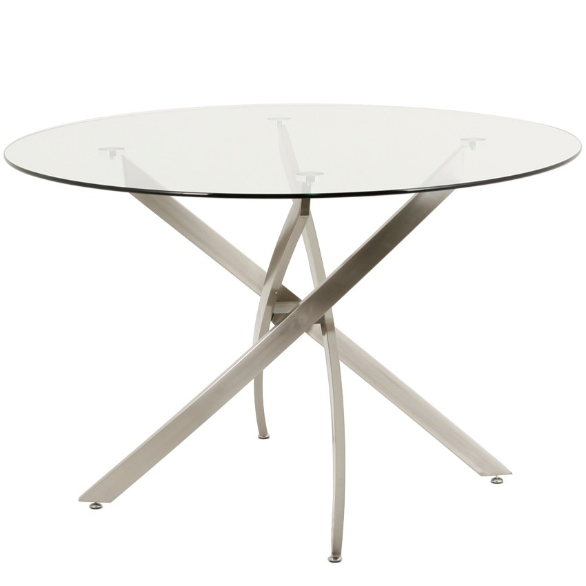 "Modern 48"" Round Glass Dining Table Regarding Brushed Metal Dining Tables (Image 13 of 25)"