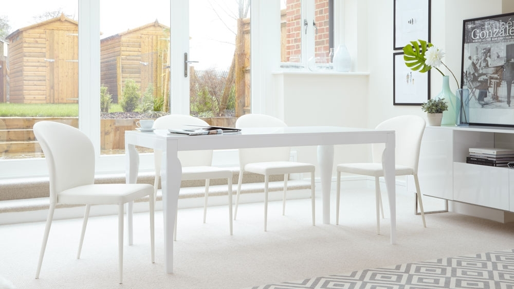 Modern 6 Seater Dining Table | White Gloss Finish | Uk For 8 Seater White Dining Tables (View 2 of 25)