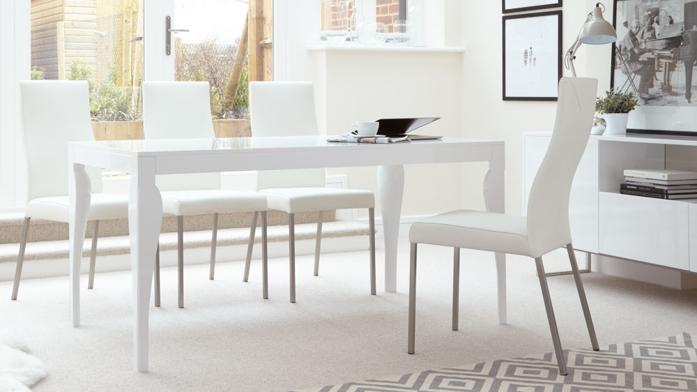 Modern 6 Seater Dining Table | White Gloss Finish | Uk In Gloss Dining Sets (View 3 of 25)