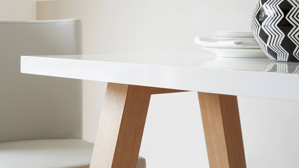 Modern 6 Seater White Gloss And Oak Dining Table | Uk In Oak Dining Tables (View 12 of 25)