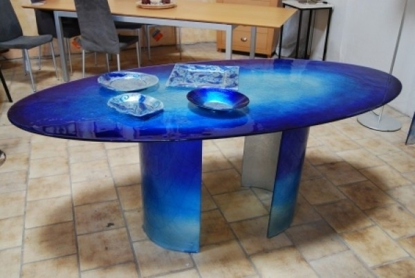 Modern And Attractive Glass Dining Table Design With Blue Sea Color Intended For Blue Dining Tables (Image 17 of 25)
