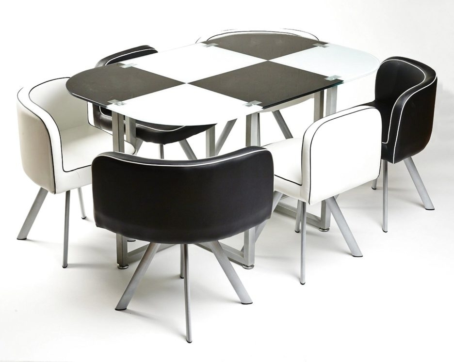 Modern Black And White Melamine Dining Table Using Silver Metal Regarding White Melamine Dining Tables (Image 20 of 25)