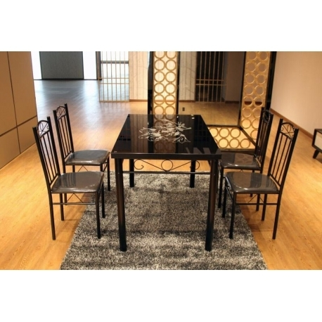 Modern Black Flower Design Dining Table Set Glass Top 4 Faux Leather Throughout Dining Tables Black Glass (View 12 of 25)