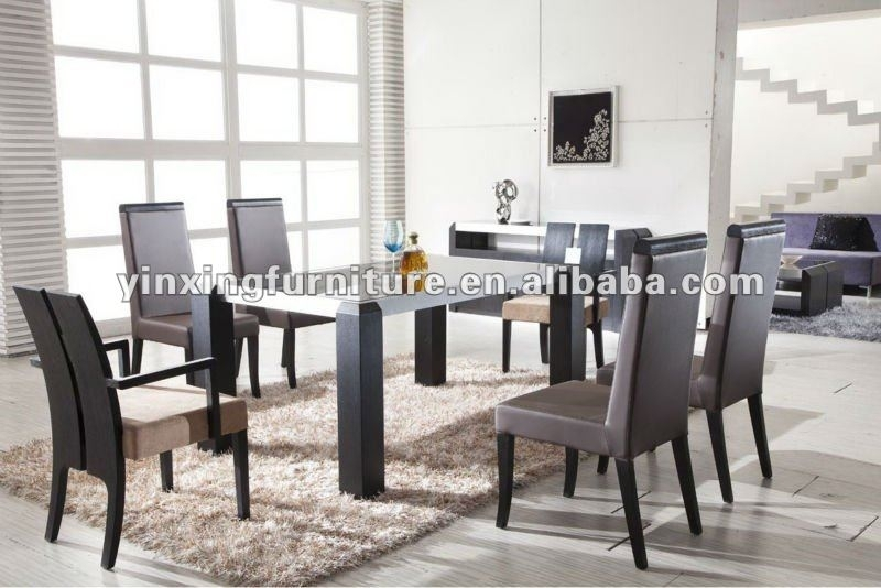 Modern Black Glass Dining Table With Wooden Legs Yg108 Shop For Sale Throughout Glass Dining Tables With Wooden Legs (Image 19 of 25)