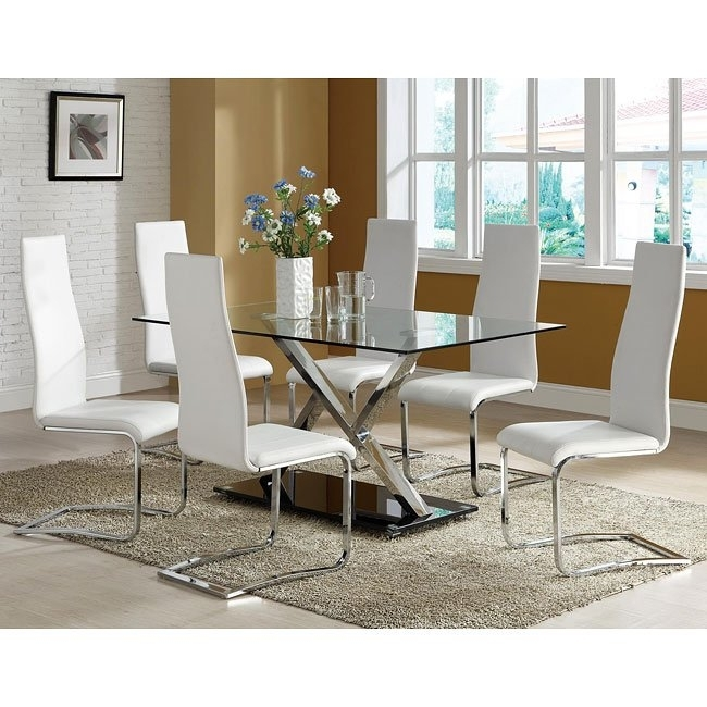 Modern Chrome Dining Room Set W/ White Chairs Coaster Furniture Inside Chrome Dining Room Sets (Image 15 of 25)