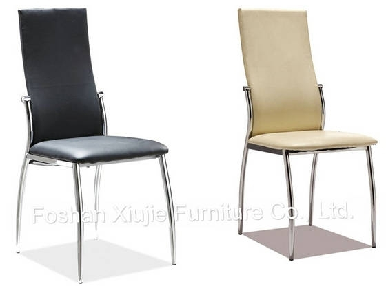 Modern Chrome Metal Pu Leather Dining Chairs For Sale – Foshan In Chrome Leather Dining Chairs (View 13 of 25)