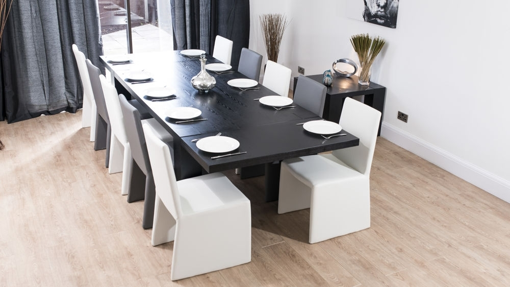 Modern Chunky Black Ash Dining Set | Seats 8 14 | White Or Grey Chairs Throughout Extending Dining Tables With 14 Seats (Image 20 of 25)