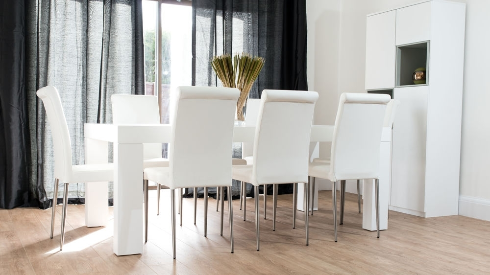 Modern Chunky White Oak Dining Table And Real Leather Chairs | Seats 8 For White Leather Dining Room Chairs (Image 9 of 25)