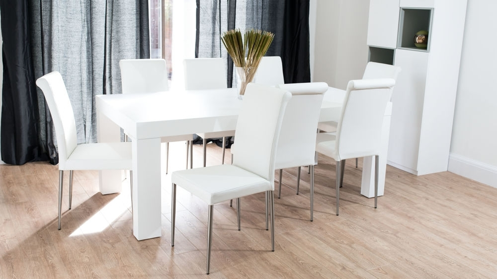 Modern Chunky White Oak Dining Table And Real Leather Chairs | Seats 8 Throughout White Dining Tables And Chairs (View 3 of 25)