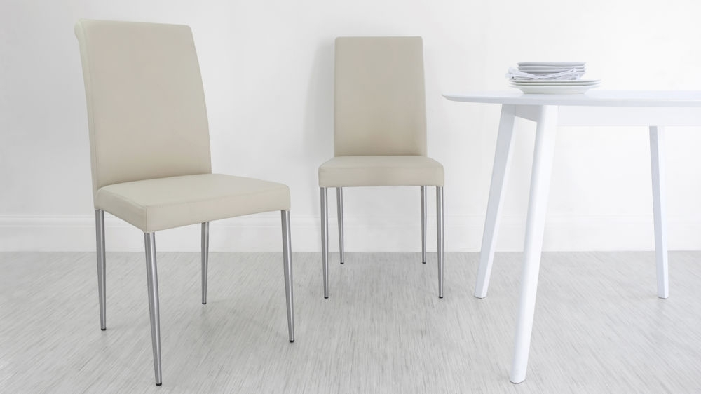 Modern Chunky White Oak Dining Table And Real Leather Chairs | Seats 8 Within Real Leather Dining Chairs (Image 9 of 25)