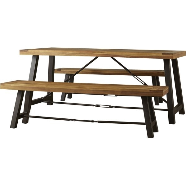 Modern & Contemporary Wood Picnic Table With Benches | Allmodern In Jaxon 6 Piece Rectangle Dining Sets With Bench & Uph Chairs (View 17 of 25)