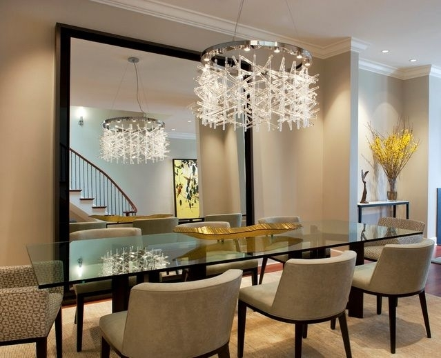 Modern Crystal Dining Room Chandeliers Combined With Glass Dining For Crystal Dining Tables (View 14 of 25)