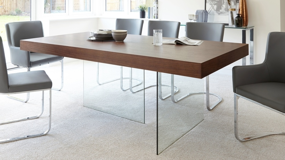 Modern Dark Wood Dining Table | Glass Legs | Seats 6 To 8 With Regard To Glass Dining Tables With Wooden Legs (View 2 of 25)