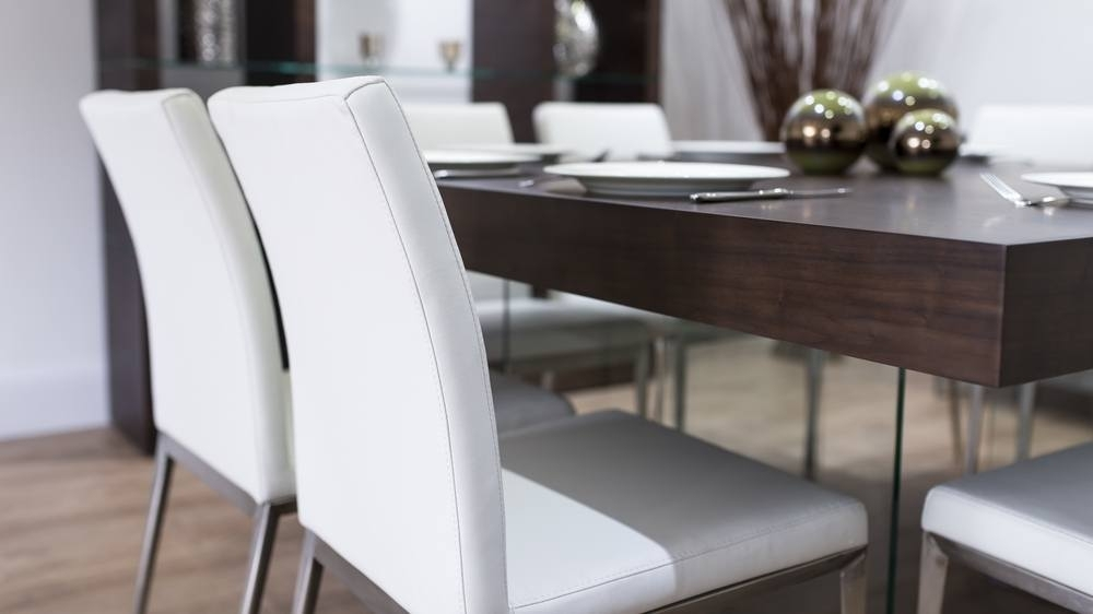 Modern Dark Wood Square Dining Table | Glass Legs | Trendy Coloured Intended For Dark Wood Square Dining Tables (Image 17 of 25)