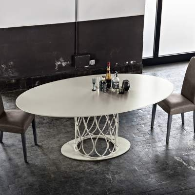 Modern Design Dining Table Made Of Grey Oak Mdf 108X200 Cm Nora Regarding Nora Dining Tables (Image 4 of 25)