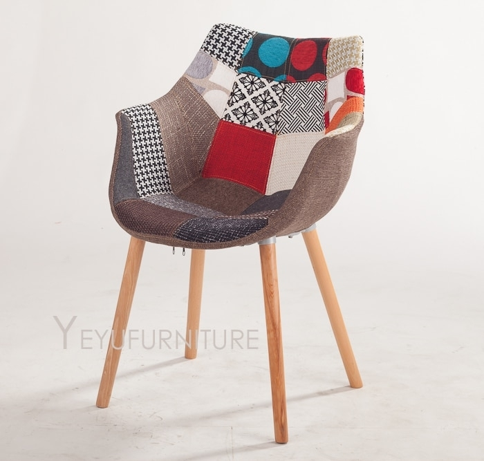 Modern Design Solid Wooden Base Patchwork Fabric Soft Cover Padded For Fabric Covered Dining Chairs (View 25 of 25)
