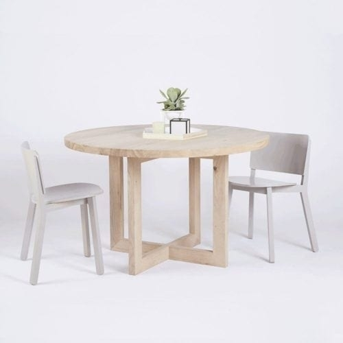 Modern Designer Round Italian Marble Dining Table – Walnut Wooden Base With Lassen Round Dining Tables (Image 17 of 25)