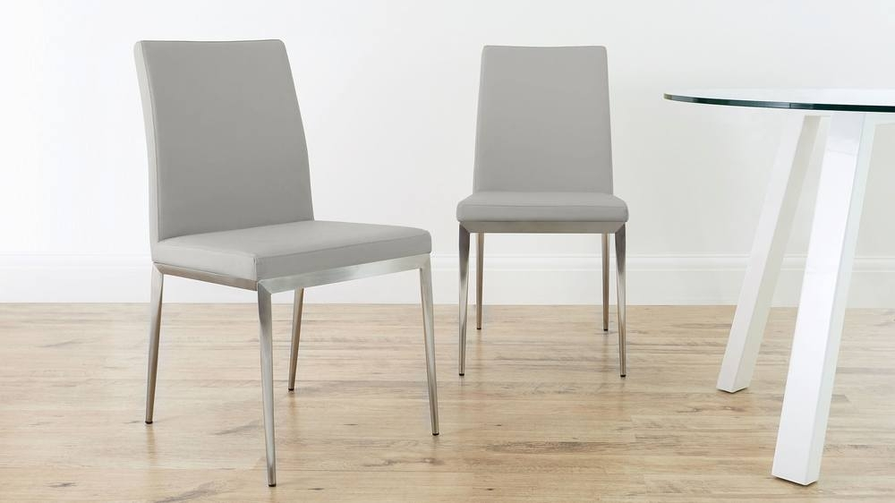 Modern Dining Chair | Brushed Metal Legs | Uk Delivery For Grey Dining Chairs (View 3 of 25)