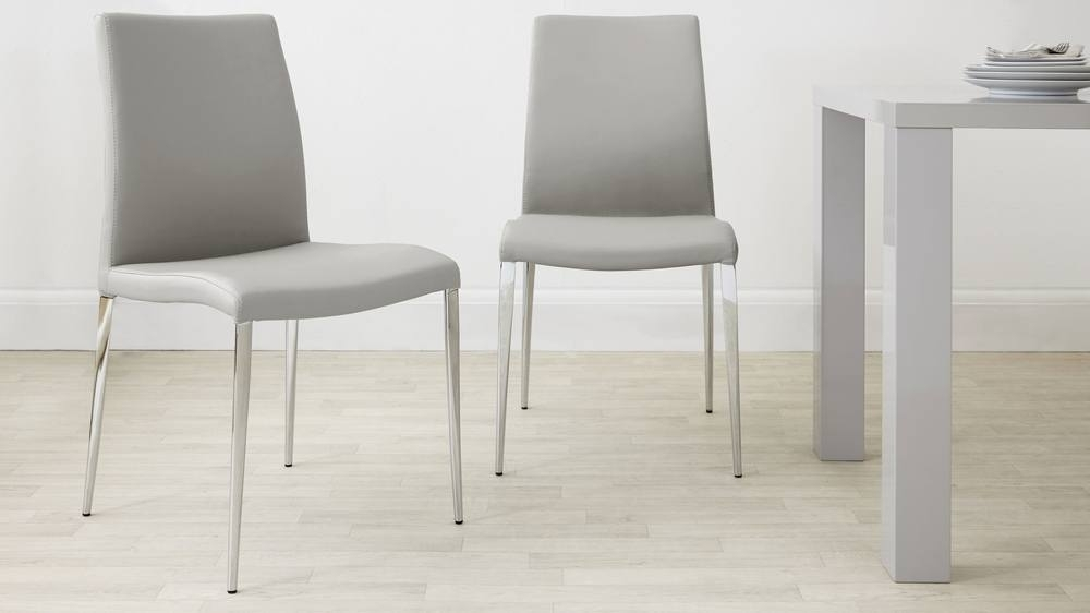 Modern Dining Chair | Leather White And Grey | Elise Chair In Grey Leather Dining Chairs (Image 17 of 25)