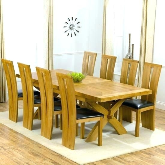 Modern Dining Table For 8 Large Square White Oak Dining Table Trendy For Dining Tables And 8 Chairs (Image 17 of 25)