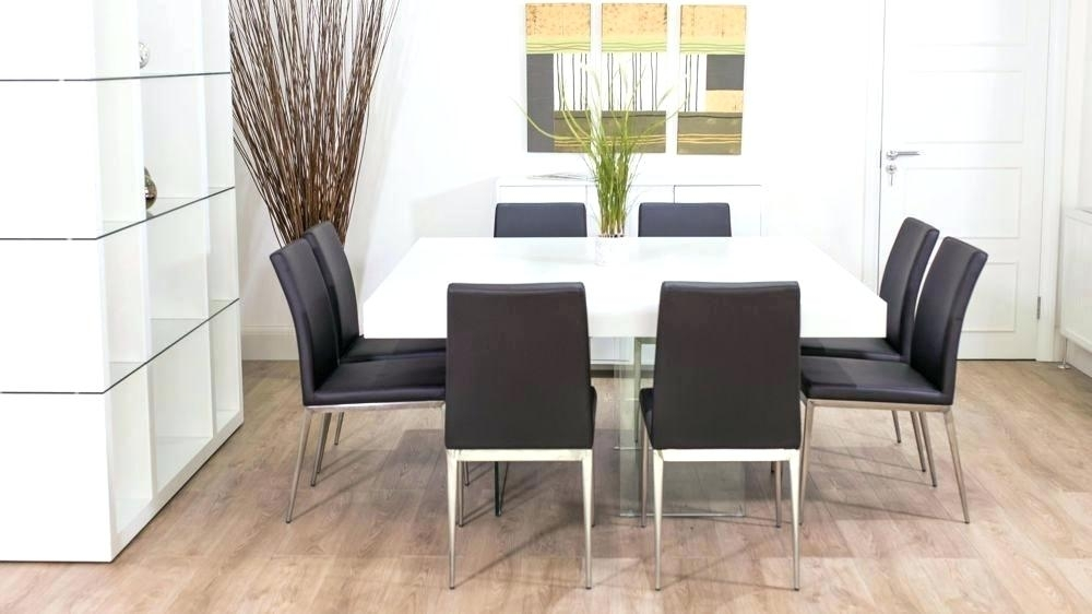 Modern Dining Table For 8 Large Square White Oak Dining Table Trendy Intended For White 8 Seater Dining Tables (Image 17 of 25)