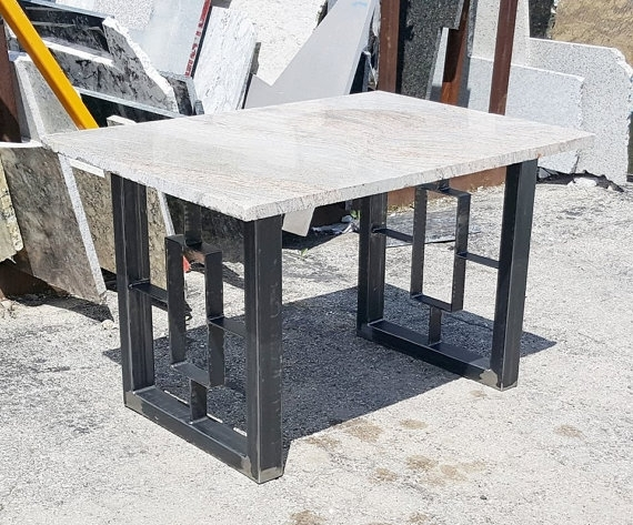 Modern Dining Table, Granite Top With Steel Square Legs | Table Intended For Dining Tables With Metal Legs Wood Top (Image 12 of 25)