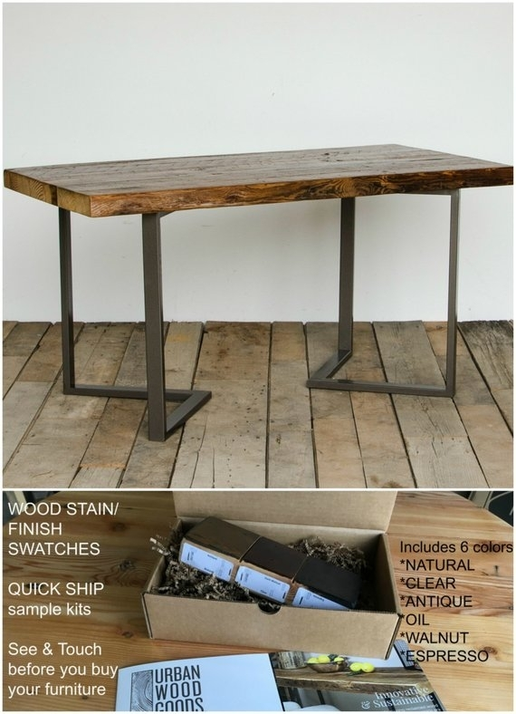 Modern Dining Table Made With Reclaimed Wood Planks And Steel   Etsy In Lindy Espresso Rectangle Dining Tables (View 25 of 25)