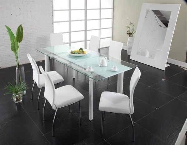 Modern Dining Table With Glass Top And Steel Legs | Ideas For The Intended For Mirror Glass Dining Tables (Image 20 of 25)