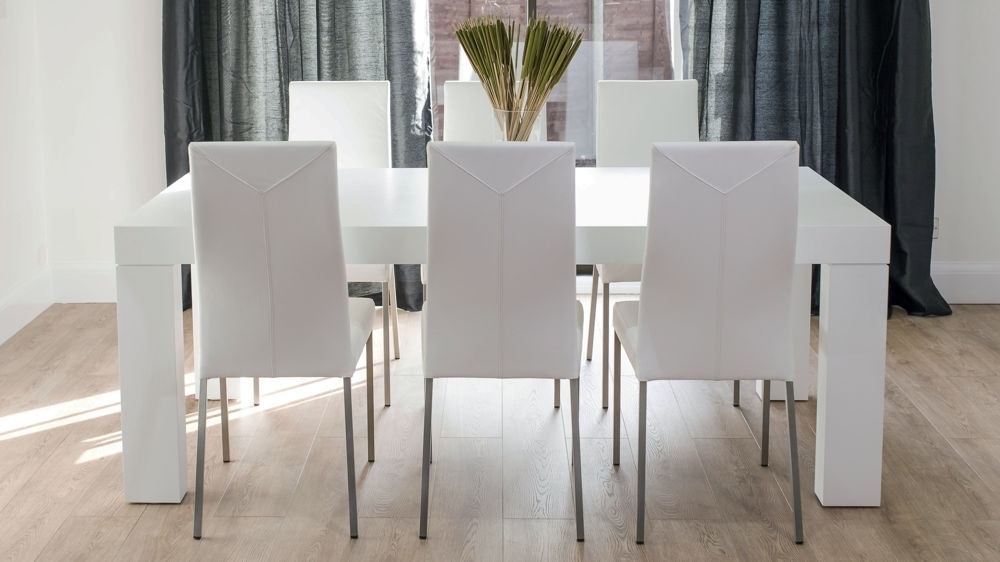 Modern Elegant White Oak Dining Table And Leather Chairs | Seats 8 For White 8 Seater Dining Tables (Image 18 of 25)
