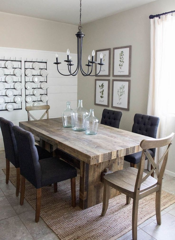 Modern Farmhouse Dining Room & Diy Shiplap | Home Sweet Home In 2018 Intended For Dining Room Tables (Image 21 of 25)