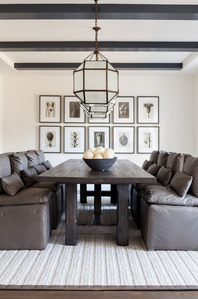 Modern Farmhouse Dining Room With Leather Dining Chairs The Leather Regarding Helms 7 Piece Rectangle Dining Sets With Side Chairs (View 20 of 25)