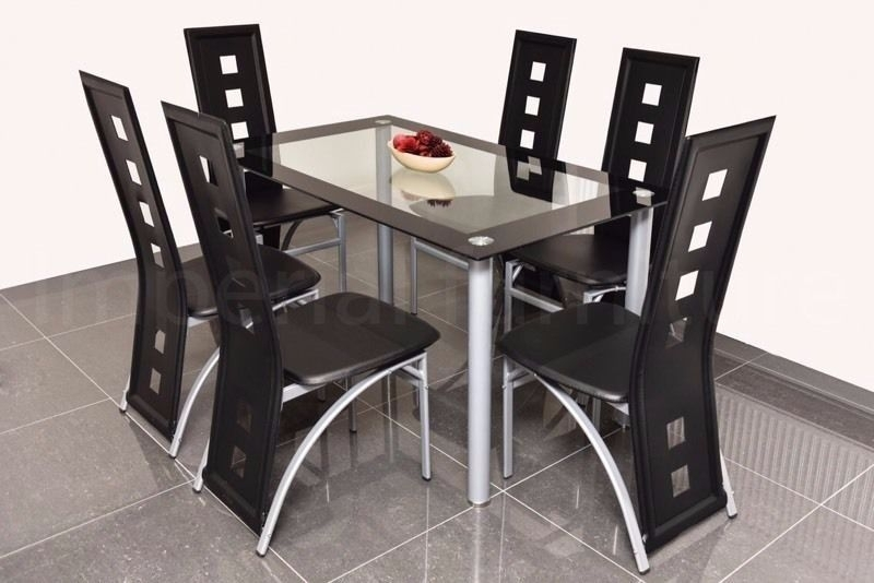 Modern Glass Dining Table And Chairs Set – Square Cut Outs Bargain For Dining Table Chair Sets (View 9 of 25)