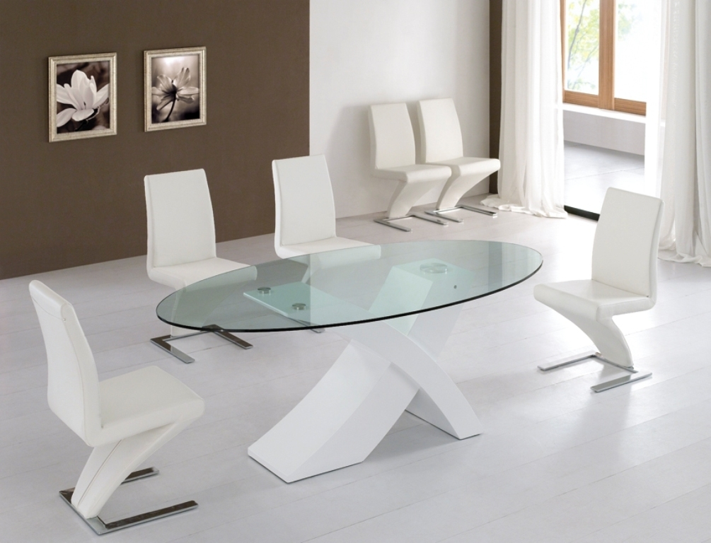 Modern Glass Dining Table Set Home And Interior Design Regarding White Glass Dining Tables And Chairs (View 19 of 25)