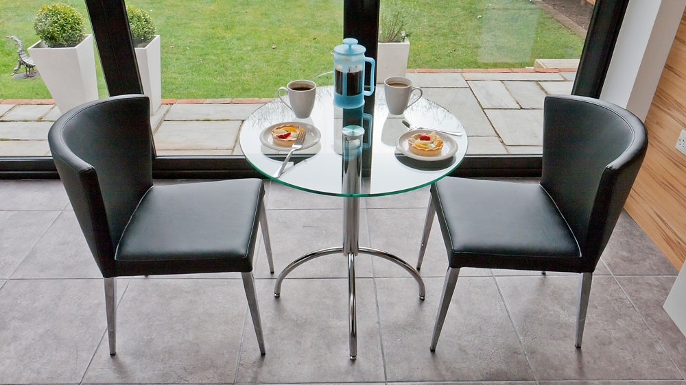 Modern Glass Kitchen Dining Set For 2 | Black, White, Brown, Beige Inside Two Seater Dining Tables (Image 14 of 25)