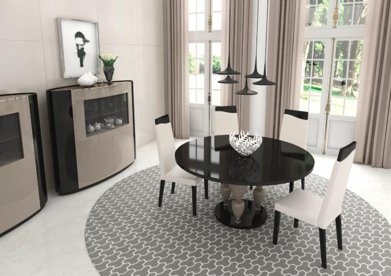Modern Glass Top Round Dining Table | Contemporary Furniture For Contemporary Base Dining Tables (Image 18 of 25)