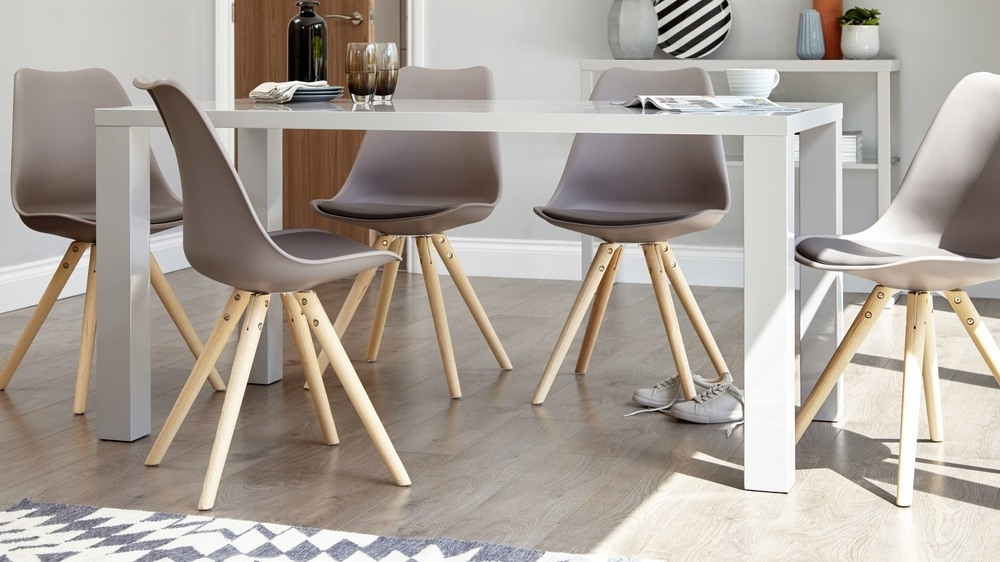 Modern Grey Gloss Dining Table | 6 Seater Dining Table | Uk Within 6 Seat Dining Tables And Chairs (Image 21 of 25)