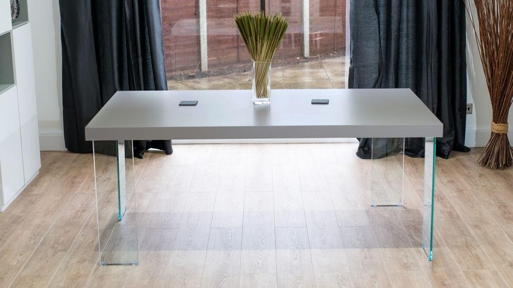 Modern Grey Oak Dining Table | Glass Legs | Seats 6 To 8 For Glass Dining Tables With Oak Legs (View 7 of 25)