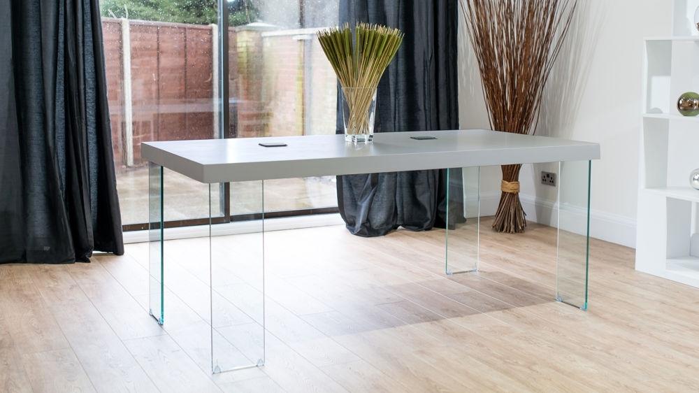 Modern Grey Oak Dining Table   Glass Legs   Seats 6 To 8 Inside Glass Dining Tables With Oak Legs (Image 14 of 25)