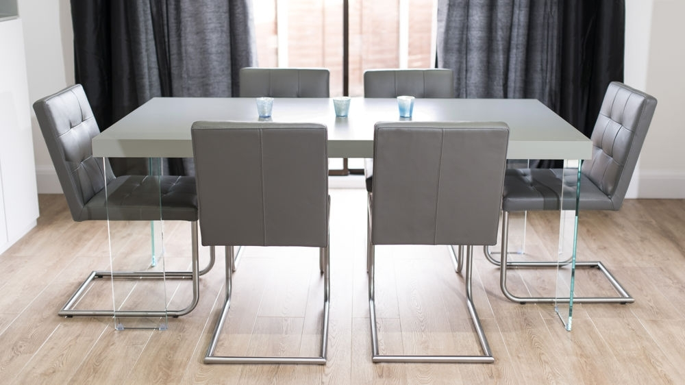 Modern Grey Oak Dining Table | Glass Legs | Seats 6 To 8 Throughout Grey Glass Dining Tables (Image 20 of 25)