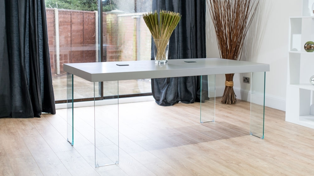 Modern Grey Oak Dining Table | Glass Legs | Seats 6 To 8 With Regard To Round Glass Dining Tables With Oak Legs (Image 15 of 25)