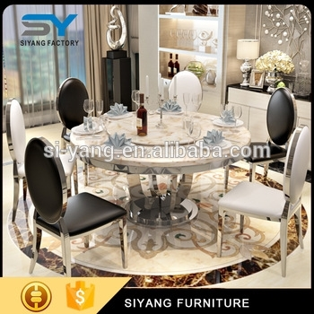 Modern High Class Marble Dining Set Round Rotating Dining Table Pertaining To Marble Dining Chairs (Image 24 of 25)