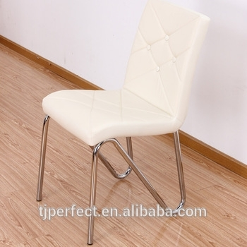 Modern Hot Sale Cheap Metal Chrome Chair Base Industrial White With Chrome Leather Dining Chairs (View 23 of 25)
