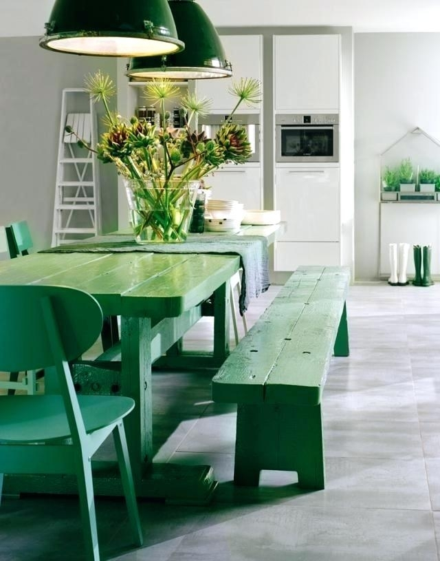 Modern Kitchen Chairs View In Gallery Bright Green Around A White Throughout Green Dining Tables (View 10 of 25)