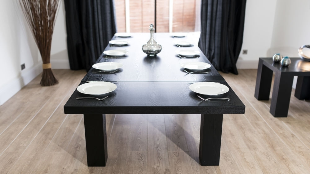 Modern Large Extending Black Ash Dining Table | Chunky Legs | Seats 14 Regarding Extending Dining Tables With 14 Seats (Image 21 of 25)